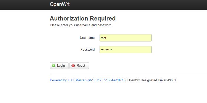 веб интерфейс OpenWRT